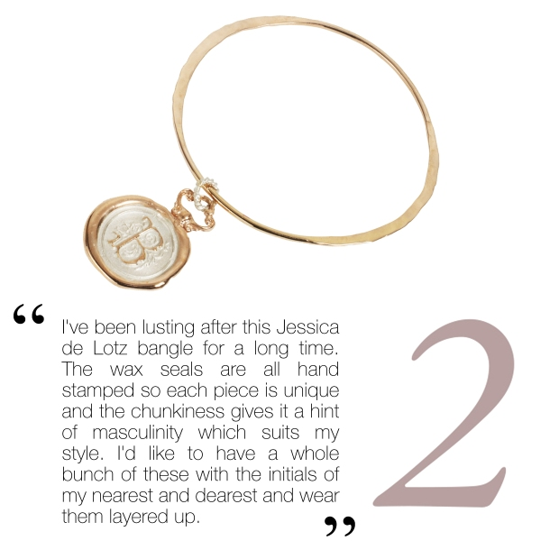 Personalised Gold Seal Bangle, £198, Jessica de Lotz