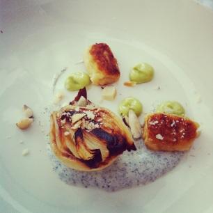BBQ Onion with Avocado, Brazil Nut and Yoghurt