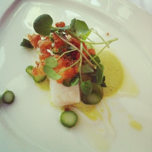 Pollock Poached in Dripping with Elderflower, Watercress and Asparagus