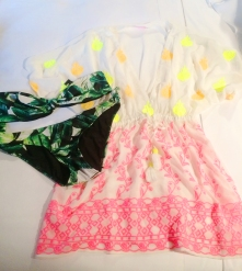 Embroidered kaftan, £30, River Island, tropical print bikini, £12 for top, £16 for bottom, ASOS