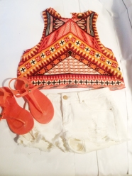 Aztec vest, £16, white shorts, £17.50, both ASOS, neon jelly sandals, £16, Kurt Geiger