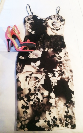 Floral dress, £65, Lipsy, pink sandals, £60, Zara