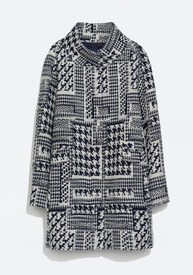 Patterned Wool Coat, £63.99, Zara