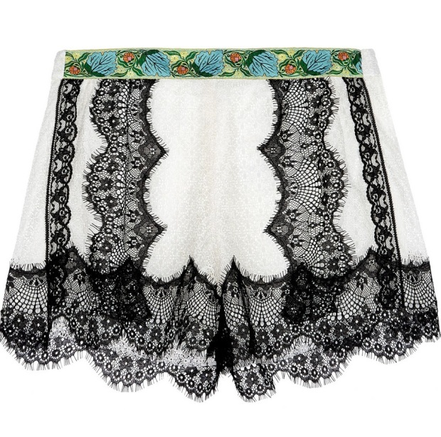 Jacquard-trimmed lace shorts 195 Anna Sui
