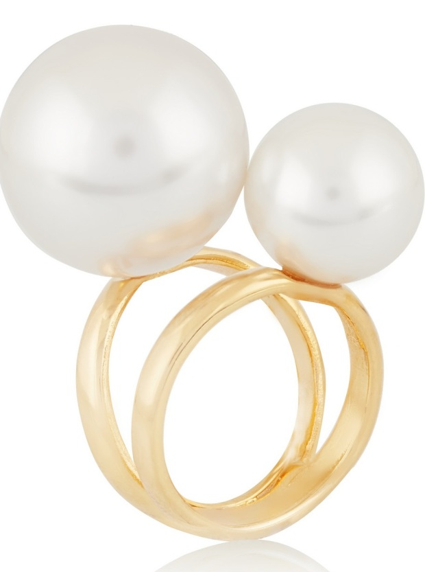 Gold-plated faux pearl ring £65 Kenneth Jay Lane NAP