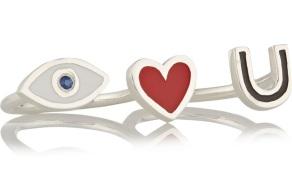 I Love You Silver, Enamel and Sapphire Two-finger Ring £295 I am Ileana Makri