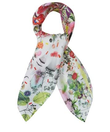 Cream Calypso Floral Silk Scarf £95 Christian Lacroix
