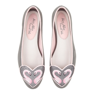 Love Heart Grey Suede Flamingo Heart Flats, £195 French Sole