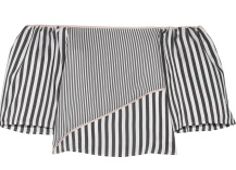 Off-the-shoulder satin-trimmed striped voile top £305